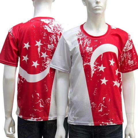 亞規中性圓領全彩昇華熱轉T–shirt(新加坡國旗)