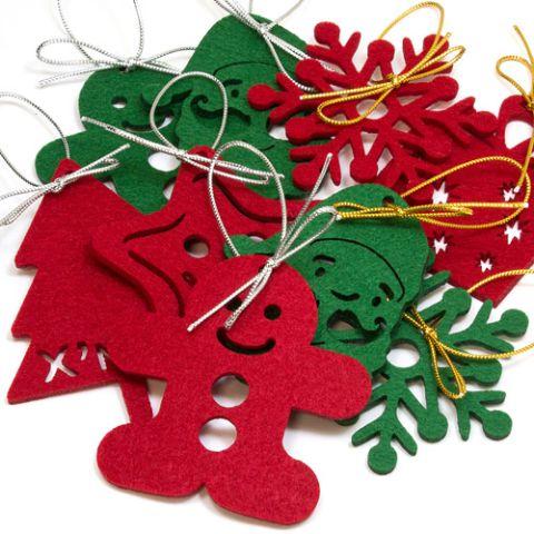 毛毡圣诞树装饰品(含蝴蝶结细绳)-礼想家网路赠品股份有限公司