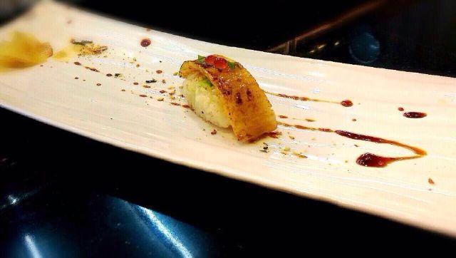 炙燒比目魚鰭邊握壽司